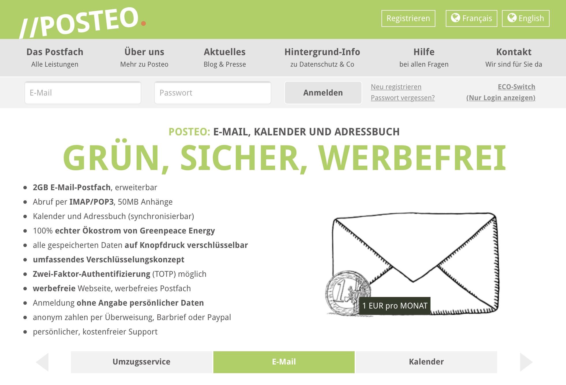 Screenshot der Posteo-Webseite